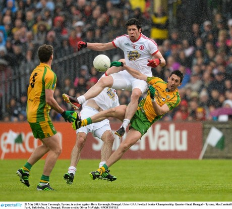 Sean Cavanagh, Tyrone, in action against Rory Kavanagh, Donegal.