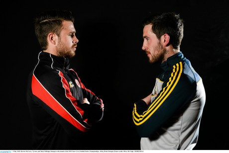 Darren McCurry, Tyrone, and Mark McHugh, Donegal. Photo: Oliver McVeigh / SPORTSFILE