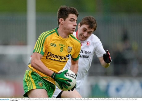 Daire Ó Baoill, in action here against Tyrone, is a doubt for Sunday's game in Armagh.