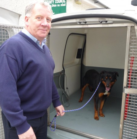 Well-known Dog Warden Sammy Parke with Roxy, one of the dogs rehomed in 2014.