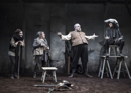 Charlotte McCurry (Blunt), Clare Barrett (Bradolph), Rory Noal (Falstaff) and Aisling O'Sullivan (Henry V) in DruidShakespeare. Photo by Matthew Thompson.