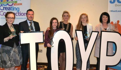 Some of the winners of this year's Outstanding Young Person awards and JCI Donegal President Nikki Bradley.