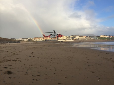 Rescue 118 landing on beach. Photo: Killian O'Kelly