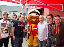 The 2014 winning team - Ward Automation are presented with the perpetual cup by the RNLI's Stormy Stan and Press Officer Shane Smyth - Photo: Linburn Photography