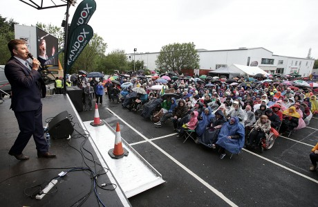 Daniel O'Donnell performing for hundreds of fans at the open air concert in Dungloe yesterday. Pic: Declan Doherty