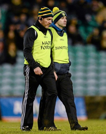 31 January 2015: Rory Gallagher, Donegal, right, along with Jack Cooney, selector. Allianz Football League Division 1, Round 1, Donegal v Derry. MacCumhail Park, Ballybofey, Co. Donegal Picture credit: Oliver McVeigh / SPORTSFILE