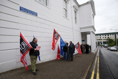 Members of the Irish Republican Socialist Party (IRSP) protesting outside Letterkenny Courthouse.