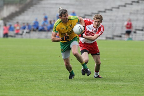 Christy Toye on the attack for Donegal. Photo: Donna El Assaad