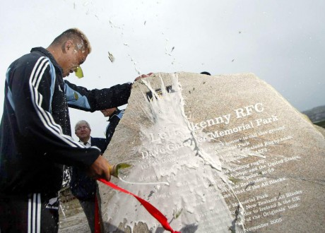All Blacks star Jerry Collins marks the opening of Letterkenny RFC pitches during an historic visit to the county.