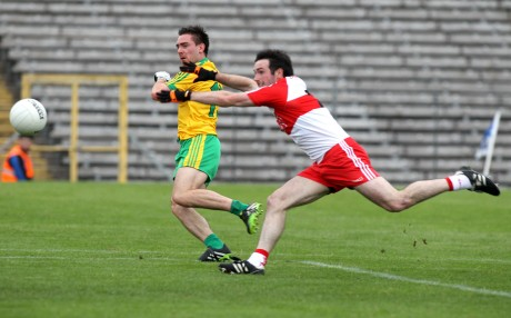 Donegal's Martin O'Reilly scoring the vital goal against Derry in the Ulster semi-final. Photo: Donna El Assaad