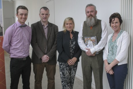 Earagail Arts Festival 2015 sponsors Finnian O'Doherty, Browns on the Green, Brian Gallagher, The Station House Hotel, Shona Tinney, Clanree Hotel and Rosemary Russel, Pramerica with Festival Director Paul Brown at the launch of the festival in the Regional Cultural Centre Tuesday, June 2.
