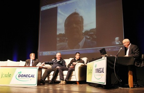 Damien Crawford, Brian Brogan, Chairman, Donegal Motor Club, Ian Barrett, Joule - Main sponsor of the 2015 Donegal International Rally and Charlie Collins, compere with Rally ledgend Ari Vertanan on Skype from Paris. Photo: Donna El Assaad