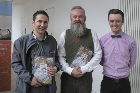 Sponsors Seamus McLaughlin, Inishowen Motors and Browns on the Green representative Finnian O'Doherty with Festival Director Paul Brown at launch of EAF2015.