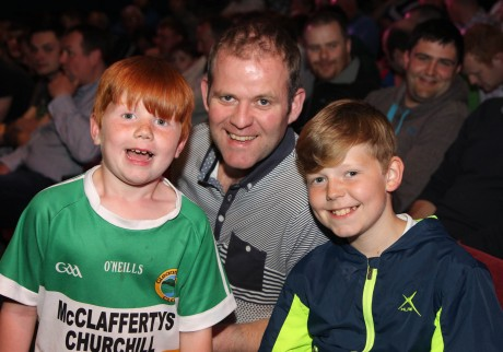 Rally driver Manus Kelly with his sons Charlie and Mandy at An Grianan Theatre for the Joule Donegal International Rally Launch.  Photo: Donna El Assaad