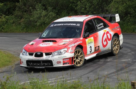 Garry Jennings and Rory Kennedy on the Knockalla Stage 8 on Saturday morning. Photo: Donna El Assaad