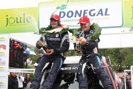 Garry Jennings and Rory Kennedy winners of the Joule Donegal International Rally 2015. Photo: Donna El Assaad