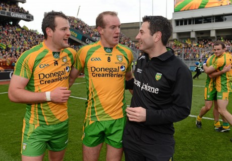 Michael Murphy and Neil Gallagher with Rory Gallagher after the 2012 All-Ireland final win over Mayo.