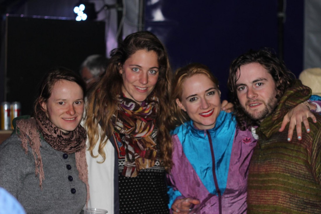 Paula and Jule, aka german duo Romie, with Laura Doherty, Dunfanaghy, and Declan McClafferty of In Their Thousands.