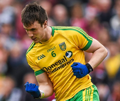 Donegal's Leo McLoone celebrates after scoring the only goal of the game. Photo: SPORTSFILE