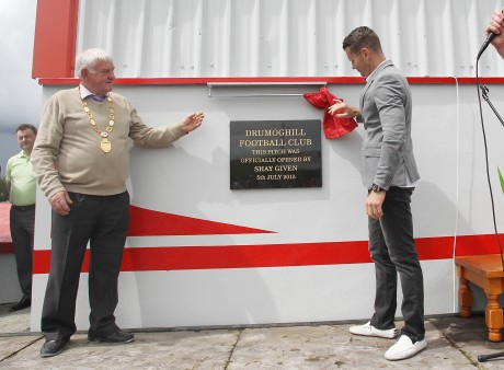 Shay Given officially opens 'The Moss', Drumoghill FC's newly refurbished pitch. Photo: Donna El Assaad