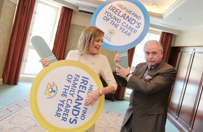 Pictured at the launch of the 2015 Carers of the Year Awards, hosted by The Carers Association are broadcasters and patrons of The Carers Association, Mary Kennedy and Marty Whelan. Photo: Mark Stedman/Photocall Ireland