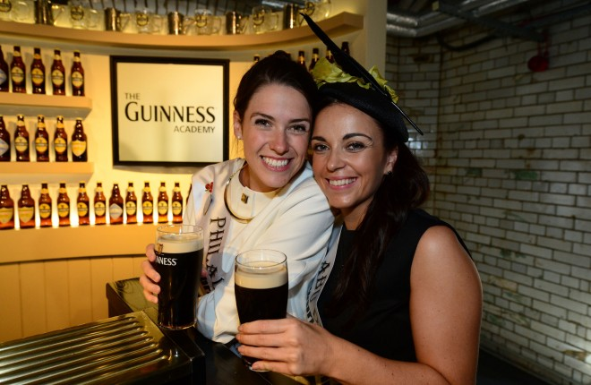 The Roses arrived into the Guinness Storehouse in Dublin and enjoyed a pint of the black . Donegal ladies, Philadelphia Rose Mairead Comaskey and the Abu Dhabi Deirdre Ward. Photo: Domnick Walsh / Eye Focus LTD