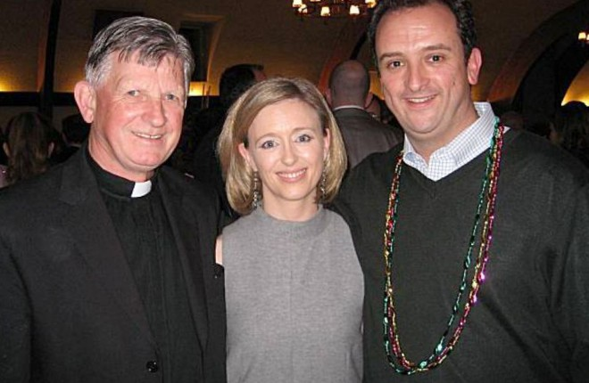 Fr. Brendan McBride with Celine Kennelly, director of the Irish Immigration Pastoral Centre, San Francisco and supervisor Sean Elsbernd. Photo: Catherine Bigelow/San Francisco Chronicle.
