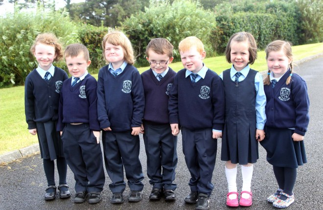 Marie N' Fhr'l, M'che‡l Mac A'Phobail, Harry î Dochartaigh, Aodh‡n îÊLuadh—g, Ciar‡n Mac Giolla Chearra, Kara N' Fhr'l and Rosie Nic Chongail, Junior Infants at Scoil Mhuire, Cashel, Fanad on Thursday morning. Photo: Donna El Assaad