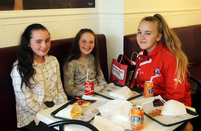 Nadine Gallagher, Aobha Gallagher and Maria McGee in Pat's Pizza.