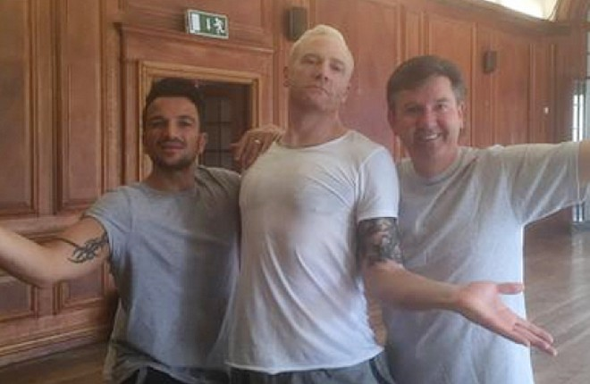 Daniel in rehearsals with fellow contestants, singer and TV personality Peter Andre and former Olympic athlete Iwan Thomas.
