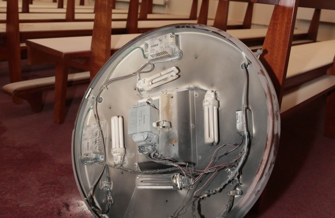 The ceiling light which exploded in St. Columba's Church, Termon.