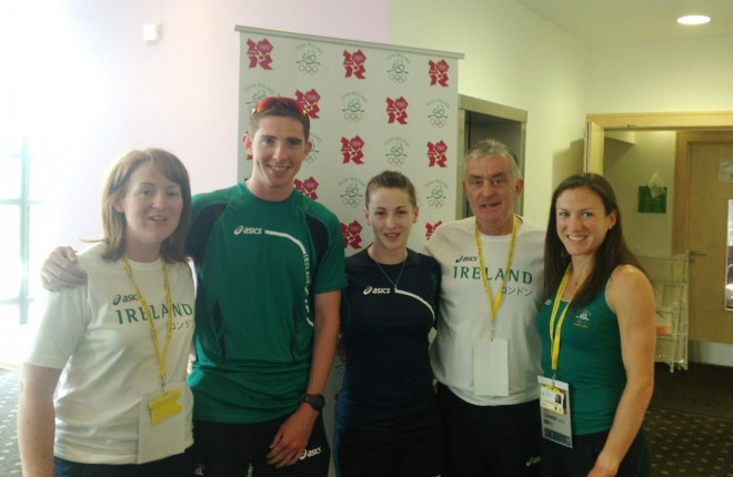 Sharon Madigan, Brendan Boyce, Chloe Magee, Patsy McGonagle and Caitriona Jennings in the Olympic village in London back in 2012.