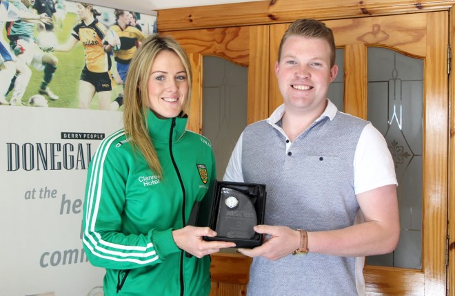 Donegal ladies GAA player Yvonne McMonagle is presented with the July Sports Personality award by Donegal News Sports Journalist Ryan Ferry.