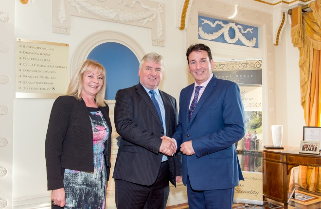 Pictured in the foyer of the Manor House Hotel, are proprietors, Mary and Liam McKenna, as they welcome their new General Manager, Eamonn Gillespie (right), to his new post.*