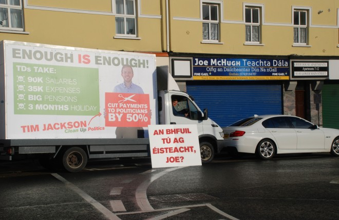 Tim Jackson and his lorry parked outside Deputy Joe McHugh's office in Letterkenny.