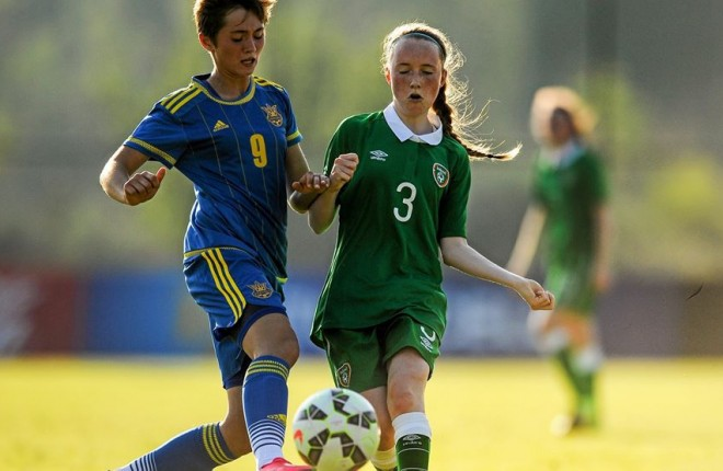 Lagan Harps' Zoe Green in action for Ireland