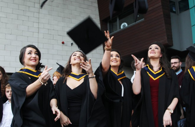 Ciara Kelly, Convoy, Sara Lynch, Lifford, Sheana Brady, Burnfoot and Martina Cannon,  Kilcar celebrate their graduation with a BSc Degree in Food Science from Letterkenny Institute of Technology. Photo: Donna El Assaad