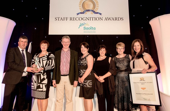 Staff at Letterkenny University Hospital received an award at the recent Saolta University Health Care Group Staff Recognition Awards.  Pictured above are,L:R – Maurice Power, CEO, Saolta University Health Care Group; Siobhan Kelly, Clinical Nurse Manager 2; Dr Paul O Connor, Consultant Anaesthetist; Theresa Mellett, Clinical Nurse Manager 2; Carolanne Boyle, Clinical Nurse Manager 2; Jean Kelly, Group Director of Nursing and Maeve McGinley, Physiotherapist.