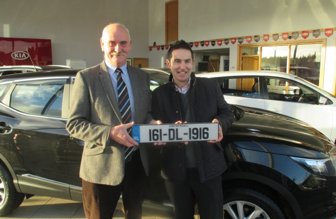 Seamus McLaughlin, Inishowen Motors with Padraig Kelly with the unique number plate to commemorate next year's 100 year anniversary.