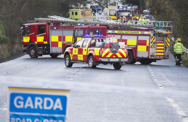 The tragic scene where two people lost their lives in a crash on the main Derry to Letterkenny road.  (North West Newspix)