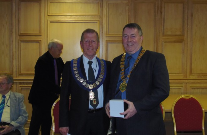 Cllr Gerry Mc Monagle, Mayor of Letterkenny, with Dan Armstrong, Chairman of the Ulster Dancing Council at the launch of the Ulster Dancing Championships in Letterkenny.
