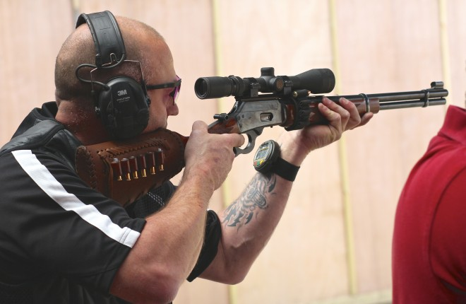 Mike Kelly pictured in action in Bisley, England. Photo courtesy of Blaze Publishing.