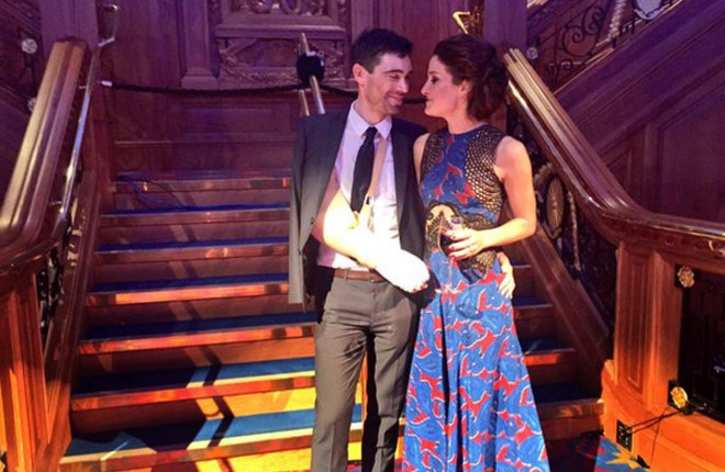Philip Deignan and his fiancee Lizzy Armitstead at last night's awards ceremony