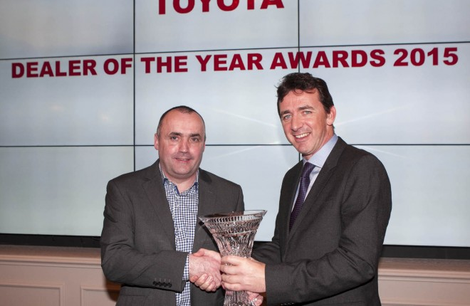 Mr Brendan Kelly (left) with Mr Mr Steve Tormey, Managing Director of Toyota Ireland.