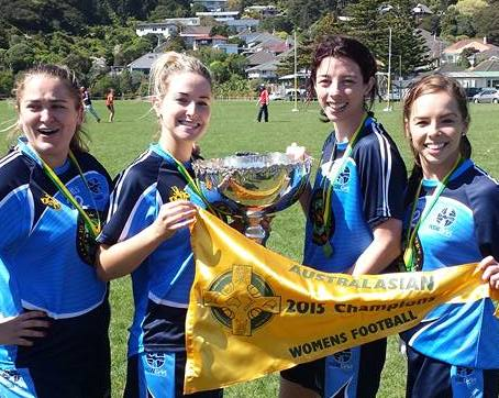 Aoife McDonnell and her teammates celebrate winning the Australasia Games with NSW.