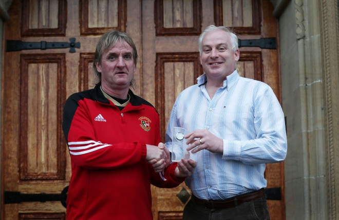 Finn Harps manager Ollie Horgan receives the Donegal News Sports Personality of the Month Award for November from Sports Editor Harry Walsh.
