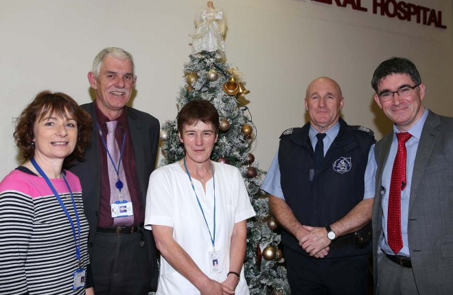 Working over Christmas at Letterkenny General Hospital are, Helen McCloskey, Liam Price, Bridget McLaughlin, Brian Marley and Henry McKinney.