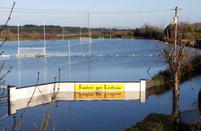 Game definitely off... The flooded Naomh Padraig GAA grounds in Lifford.