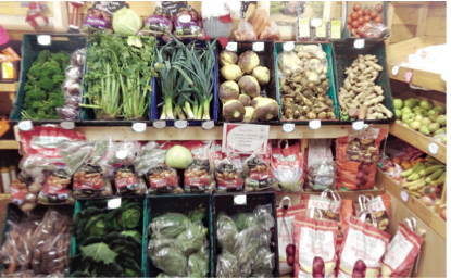 A selection of homegrown vegetables available in the farm shop.