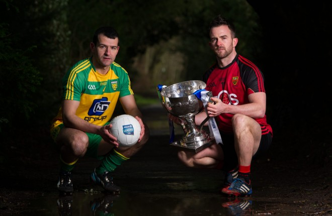 27 January 2016: Donegal's Frank McGlynn, left, and Down's Mark Poland in attendance at the 2016 Allianz Football League launch. Malone House, Belfast, Co. Antrim. Down host Donegal in the opening round of the Allianz Football League Division 1 in Pairc Esler, Newry this Saturday, January 30th. Picture credit: Seb Daly / SPORTSFILE